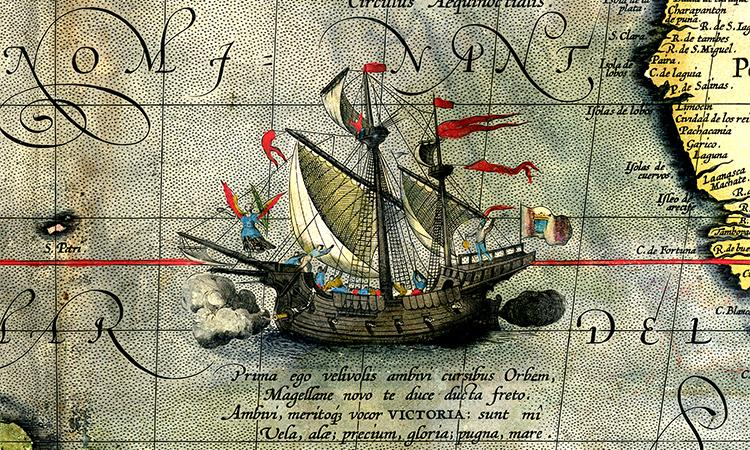 Detail from a map of Ortelius portraying Magellan's ship, Victoria