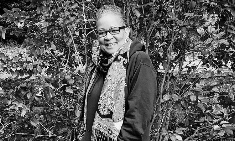 a black and white portrait of Brenda Flanagan