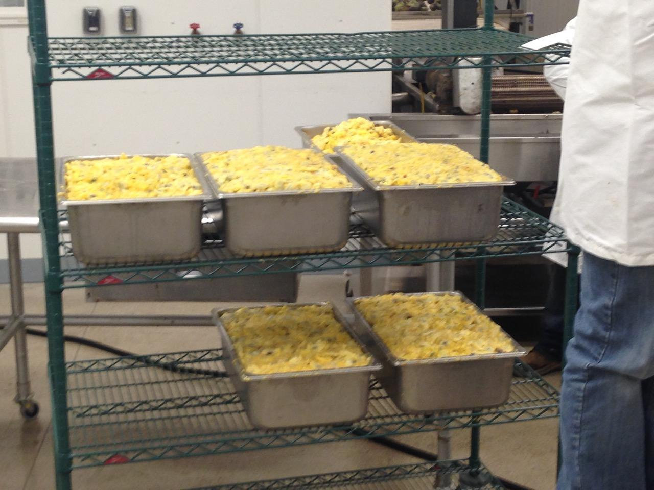 Pawpaw pulp sits in trays before being processed by fruit processing machine.