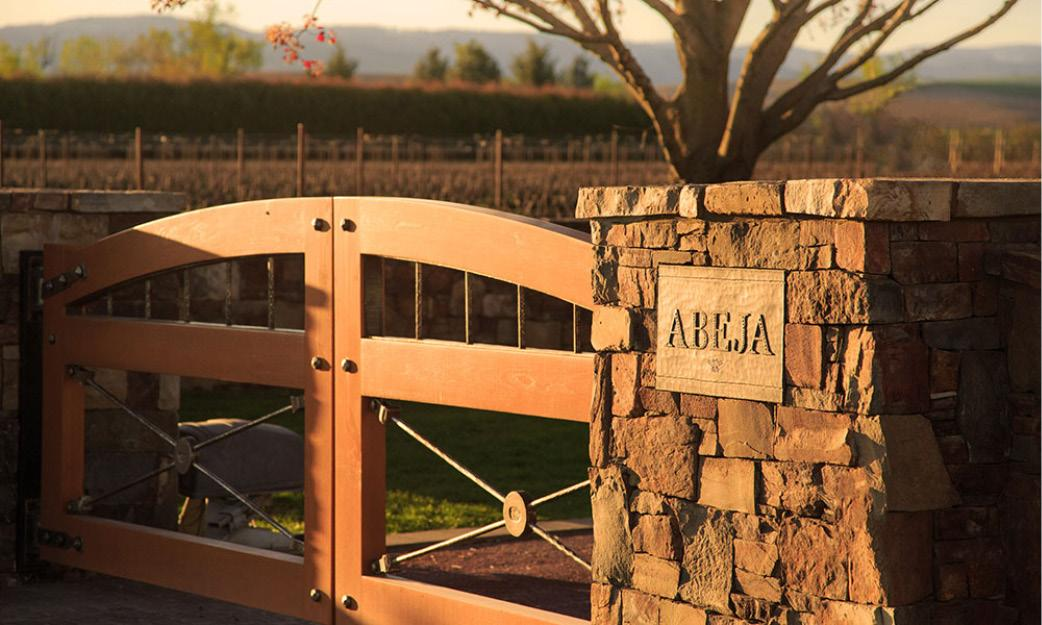The entry gate to Abeja Winery