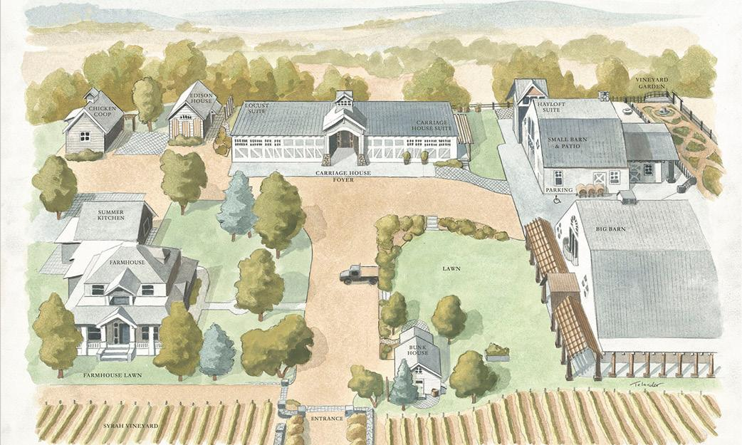 Illustrated map of the Abeja Winery