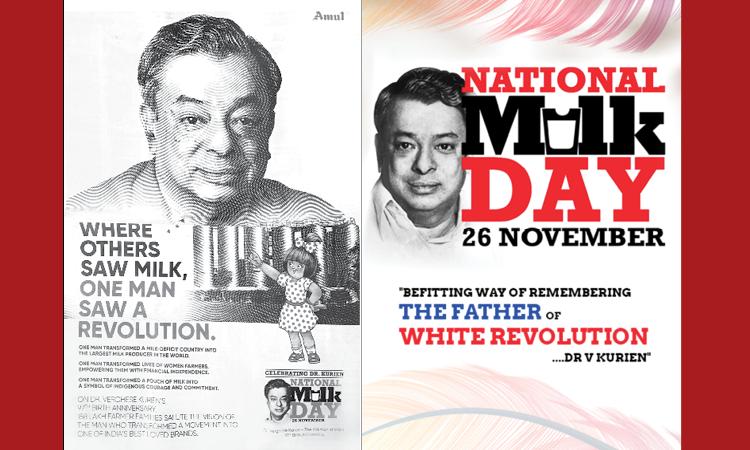 Newspaper ad celebrating International Milk Day and Dr. Kurien