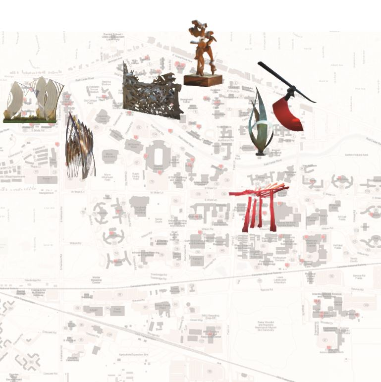 Map of East Lansing campus with locations of artworks featured in piece.