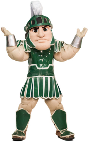 Sparty with his hands up