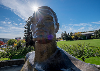 The Sparty Statue on a spring day