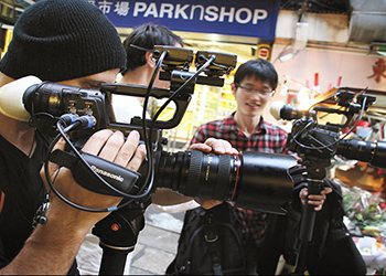 Students shooting video