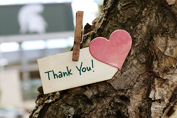 Thank you note clipped on to a tree.