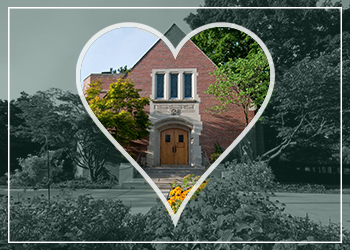Photo of the MSU Alumni Chapel with a green filter and a heart logo outlined around it.