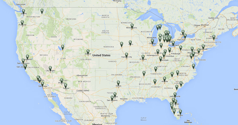 Map of MSU Alumni clubs around the United States