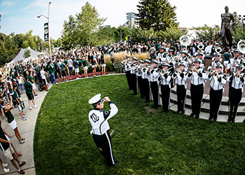 Photo of Spartan Marching Band and fans