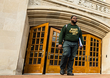 Growing up in Detroit, Lazarius Miller ('16) fell in love with science at an early age. A student at the the College of Natural Science, Miller is a first-generation student who will graduate debt-free.