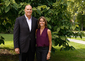 John and Becky Duffey pose on campus at MSU.