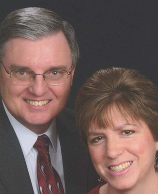 A formal portrait of Valarie and Mark Montgomery