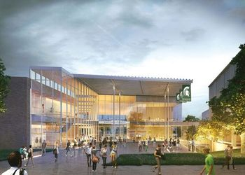 An architectural rendering of the exterior of the new Broad College of Business pavilion.