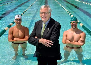 Tom Luccock poses in the pool