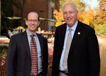 Math department chair Keith Promislow and donor Dan Van Haften