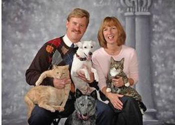 A College of Veterinary Medicine facility campaign for emergency and critical care has begun with a gift from Kurt and Debbie Dunckel pictures here with their pets, counterclockwise from the